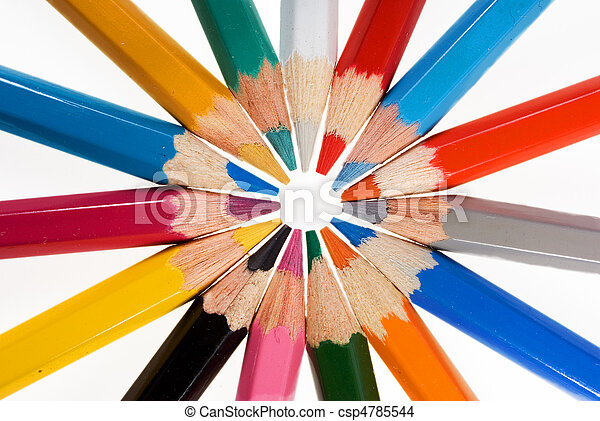 Group of color pencils on the white - csp4785544