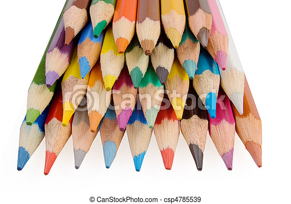 Group of color pencils on the white background - csp4785539