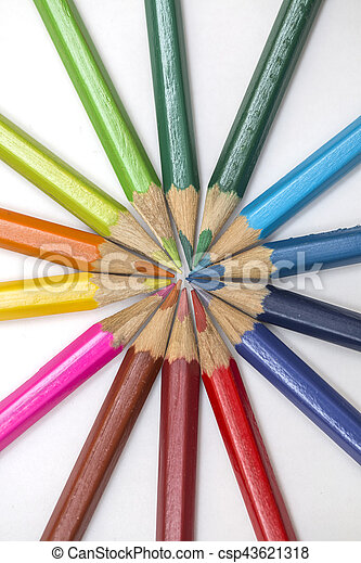 Group of color pencils on white background - csp43621318