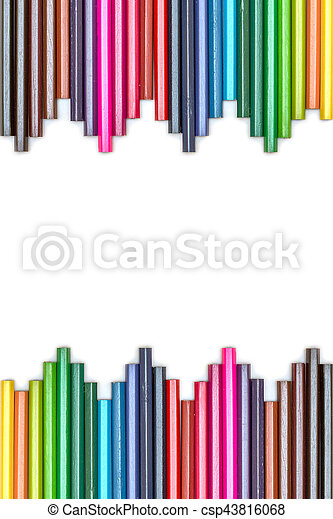 Group of color pencils on white background - csp43816068