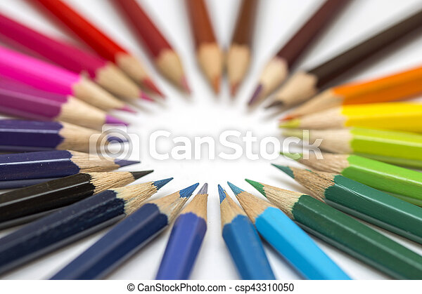 Group of color pencils on white background - csp43310050