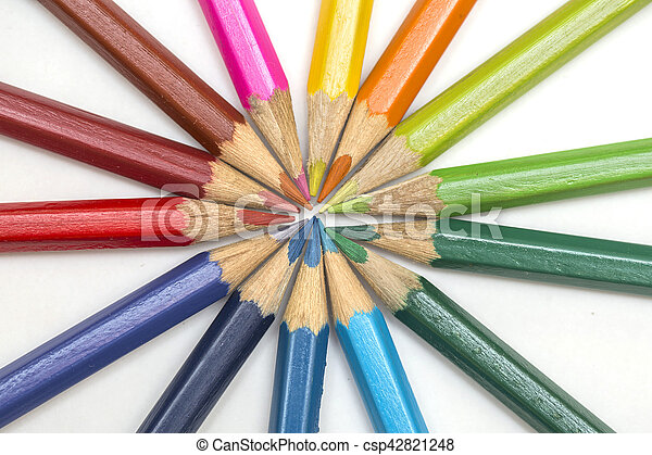 Group of color pencils on white background - csp42821248