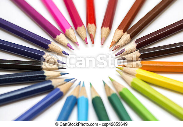 Group of color pencils on white background - csp42853649