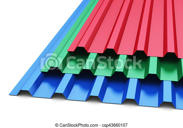 Group Of Color Steel Profile Sheets Creative Abstract 3d