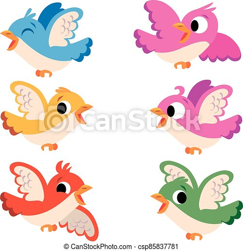 group of colourful birds in various flight poses - csp85837781
