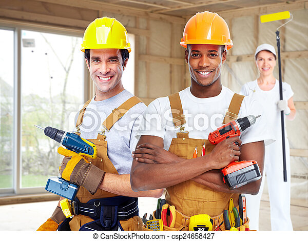 Group of construction workers. - csp24658427