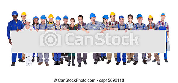 Group Of Construction Workers With Placard - csp15892118