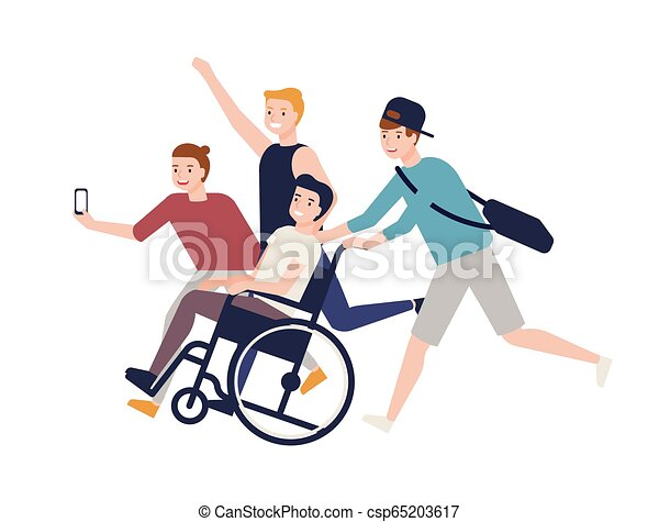 Group of crazy happy friends running, carrying boy sitting in wheelchair and making selfie. Friendship and support for man with physical impairment. Colored vector illustration in flat cartoon style. - csp65203617