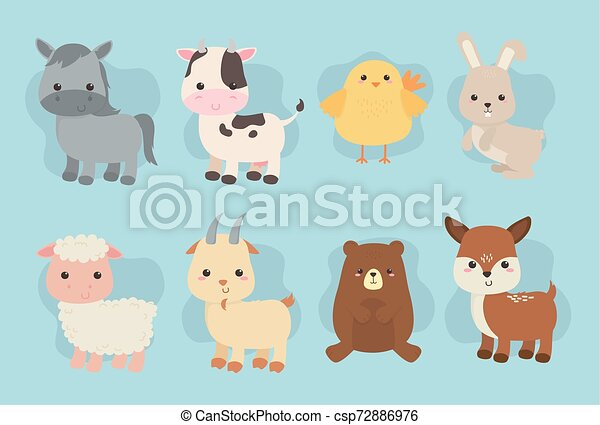 group of cute animals farm characters - csp72886976