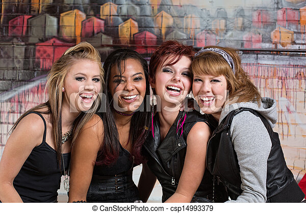 Group of Cute Teens Laughing - csp14993379