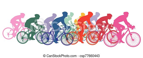 Group of cyclists on racing bikes, cycling racing - csp77660443