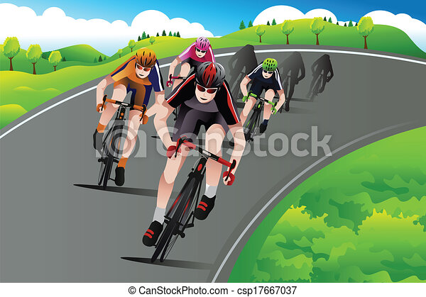 Group of cyclists racing - csp17667037