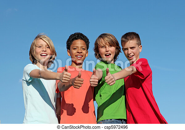 group of divderse kids at summer camp with thumbs up - csp5972496
