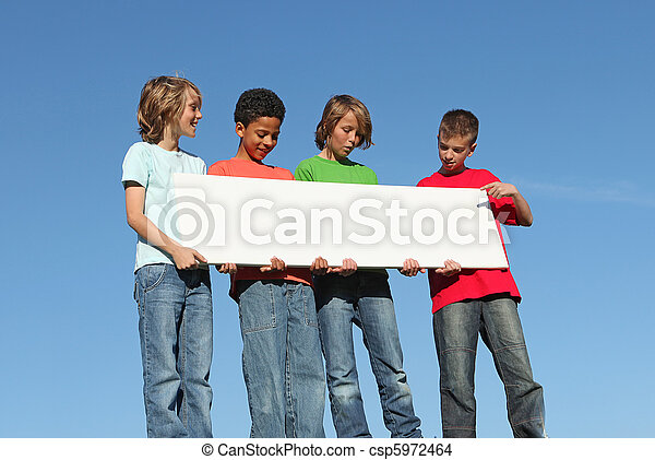 group of diverse kids holding white sign - csp5972464