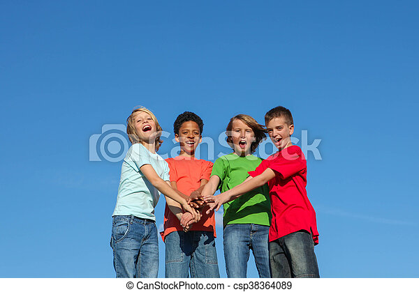 group of diverse kids or teens - csp38364089
