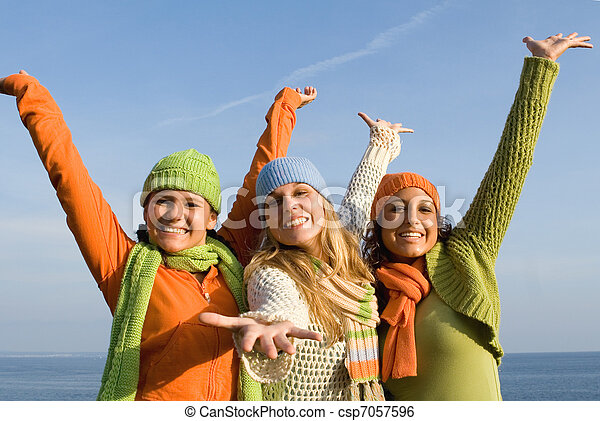 group of diverse kids with arms outstretched - csp7057596