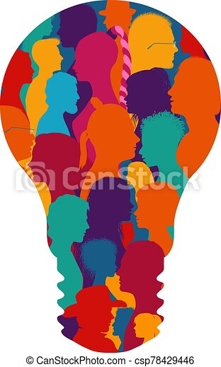 Group of diverse people silhouette in profile forming a light bulb. Community. Multiethnic multicultural society and population. Friendship and organization. Talking people. Human figures - csp78429446