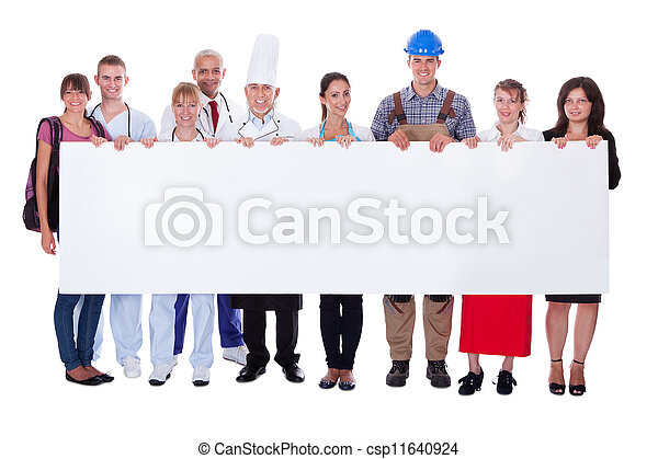 Group of diverse professional people with a banner - csp11640924