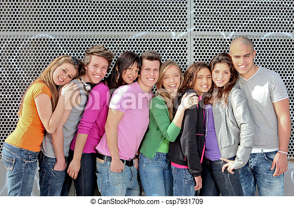 group of diverse students or teens on campus - csp7931709