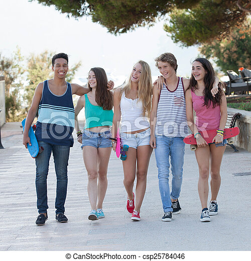 group of diverse teens on holiday  - csp25784046