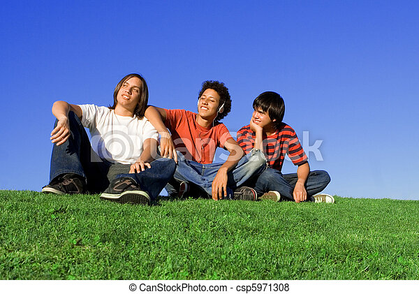 group of diverse teens - csp5971308
