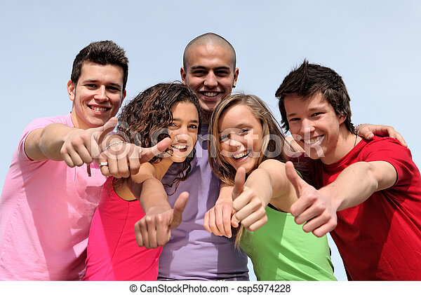 group of diverse teens - csp5974228