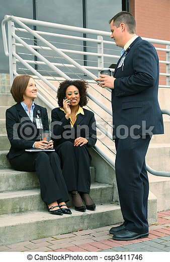 Group Of Diversity Business People Talking - csp3411746