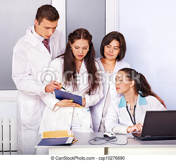 Group of doctor at hospital. - csp10276690