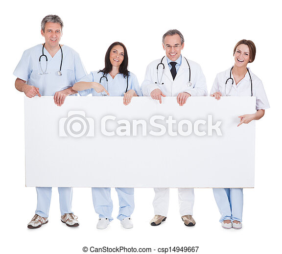 Group Of Doctor Holding Placard - csp14949667