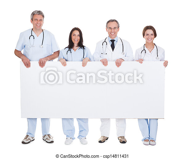 Group Of Doctor Holding Placard - csp14811431