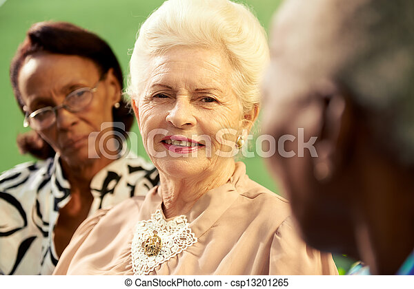 Group of elderly black and caucasian women talking in park - csp13201265