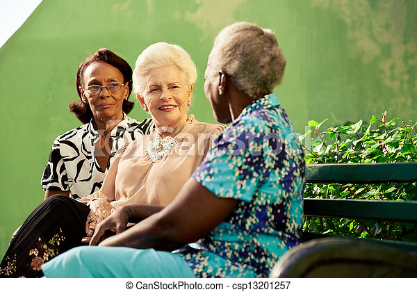 Group of elderly black and caucasian women talking in park - csp13201257