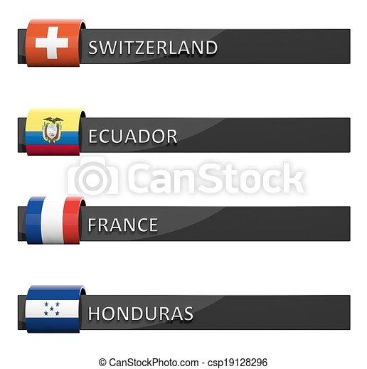 Group of empty score charts Switzerland,Ecuador,France,Honduras  - csp19128296