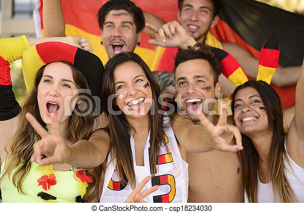 Group of enthusiastic German sport soccer fans celebrating victory. - csp18234030