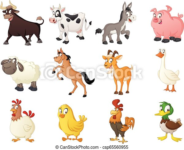 Group of farm cartoon animals. Vector illustration of funny happy animals. - csp65560955