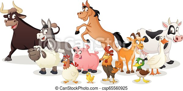 Group of farm cartoon animals. Vector illustration of funny happy animals. - csp65560925