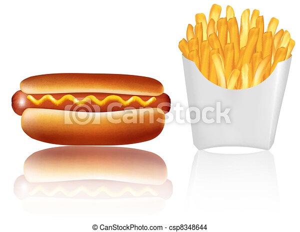 group of fast food products. - csp8348644