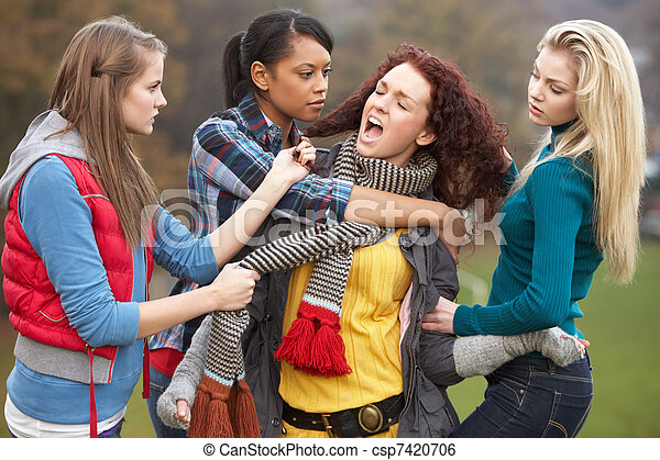Group Of Female Teenagers Bullying Girl - csp7420706