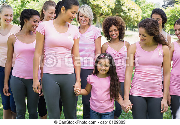 Group of females supporting breast cancer campaign  - csp18129303