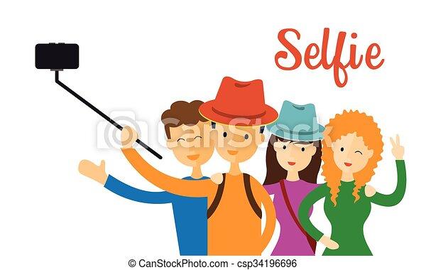 group of friend selfie men women use selfie stick with smartphone rh canstockphoto com taking selfie clipart free clip art selfie