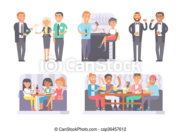 Group of friends enjoying evening drinks in bar alcohol people character vector illustration. - csp36457612