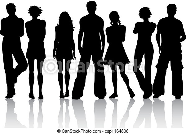 silhouette of a group of friends stock illustration search clip rh canstockphoto com group of girlfriends clipart Good Friends Clip Art