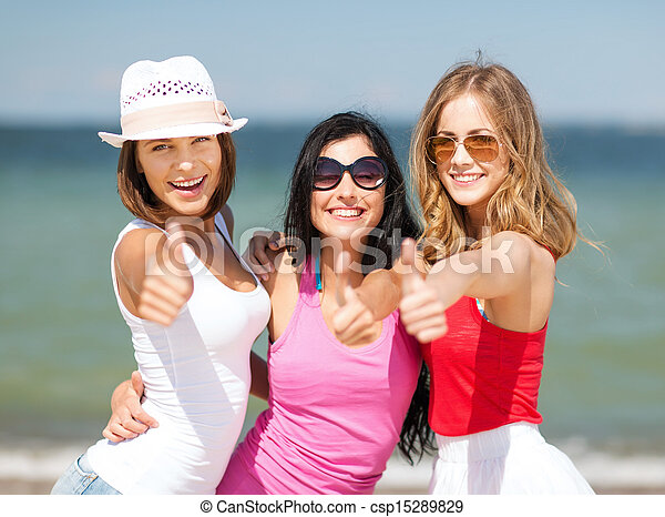 group of girls chilling on the beach - csp15289829