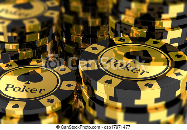 Group of gold poker chips - csp17971477