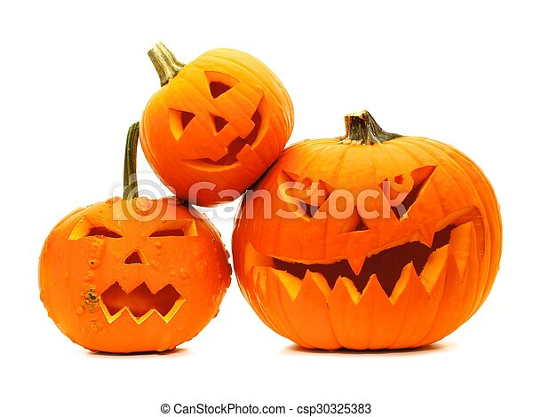 Group of Halloween Jack o Lanterns  - csp30325383