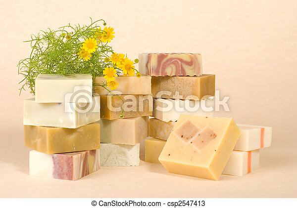 group of handmade soap with herbal material - csp2547413