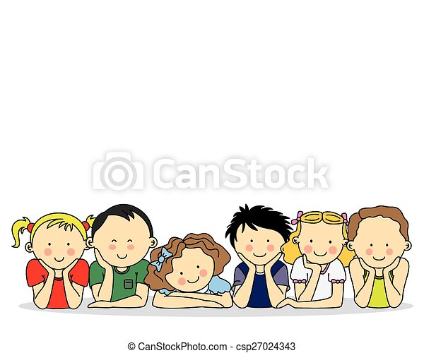 group of happy children - csp27024343