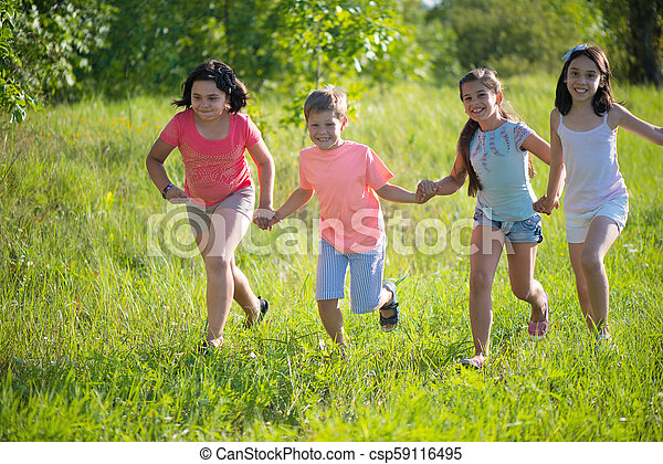 Group of happy children playing - csp59116495