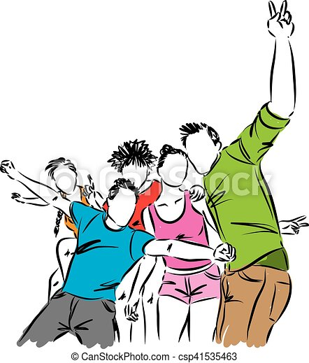 group of happy friends illustration clip art vector search rh canstockphoto com
