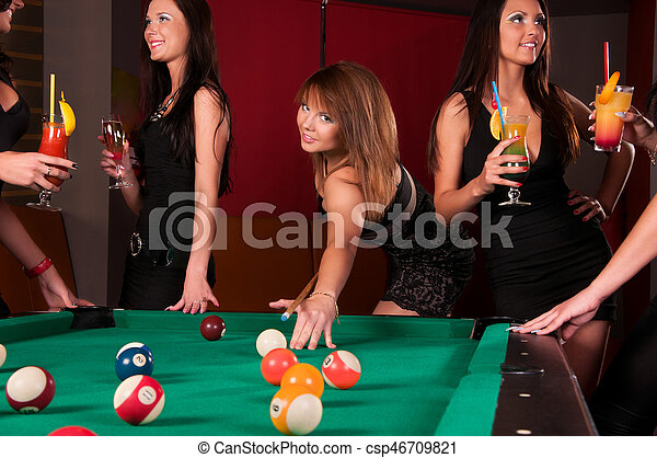Group of happy girls drinking cocktails - csp46709821